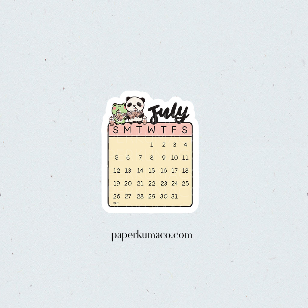 July 2020 Die Cut Calendar Sticker