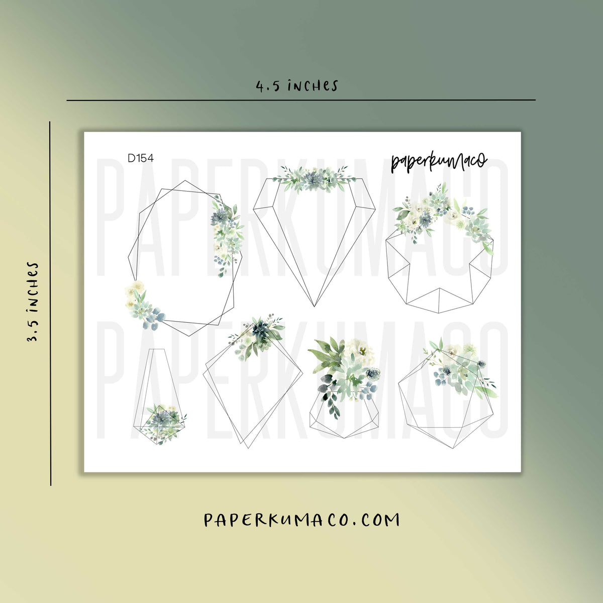 Green Floral Geometric Frames Stickers