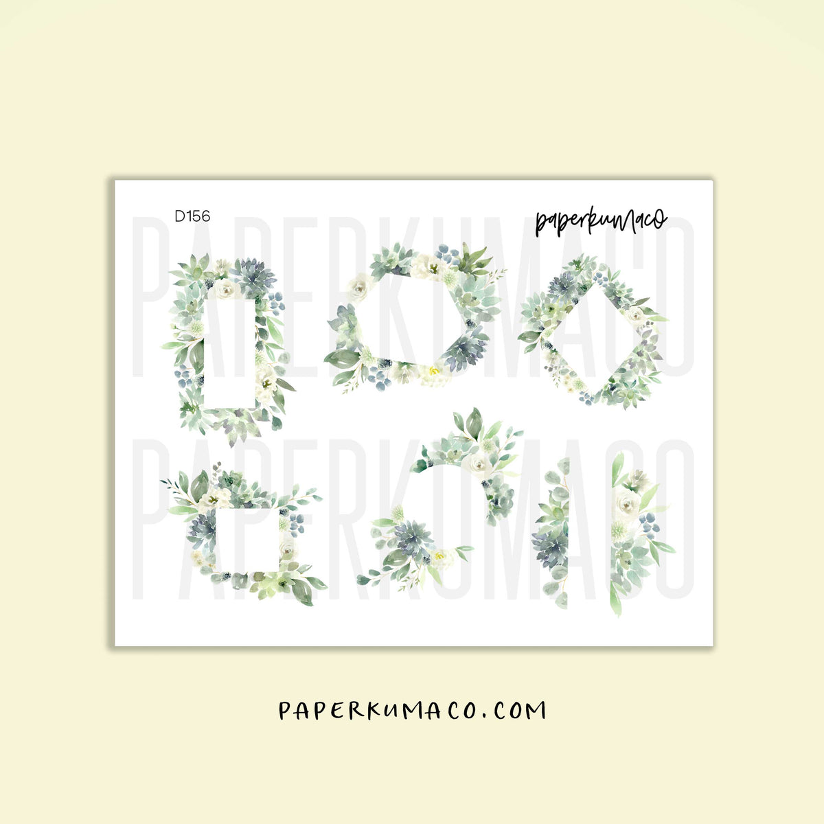 Green Floral Frames Stickers