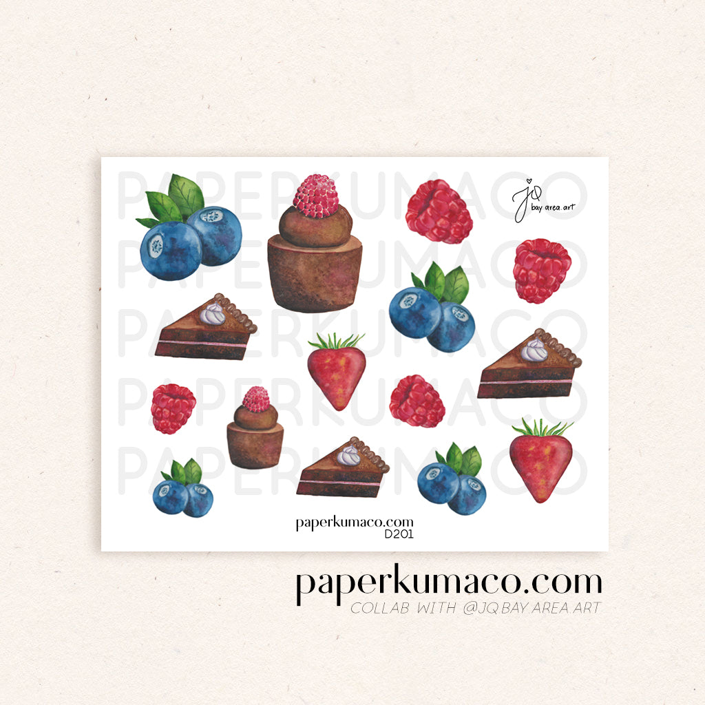 Blueberry and Chocolate Cake Decor Stickers