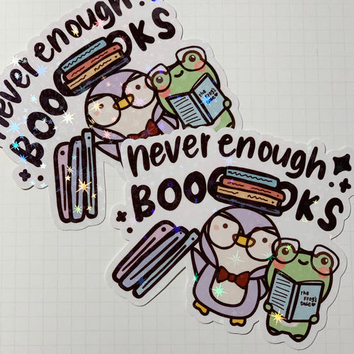 Never Enough Books Sticker Flake
