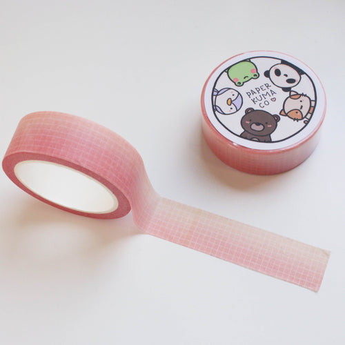 Peachy Pink Ombre Grid Washi