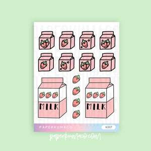 Strawberry Milk Kawaii Stickers