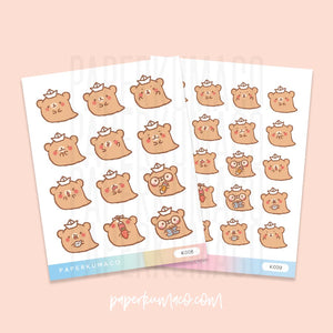 Ghostie Bear Kawaii Stickers