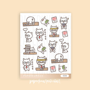 Kawaii Studying Stickers - K046