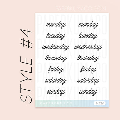 Days of the Week (Script) Stickers