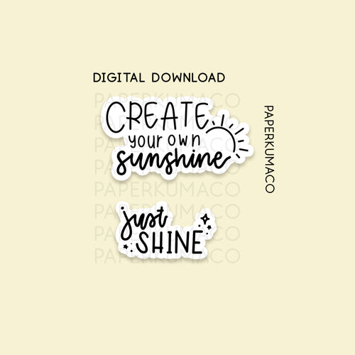 Sunshine Hand Lettering Set - Digital Download
