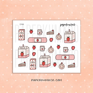 Strawberry Aesthetic Stickers - D148