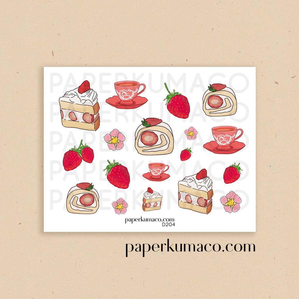 Tea and Strawberry Cake Stickers