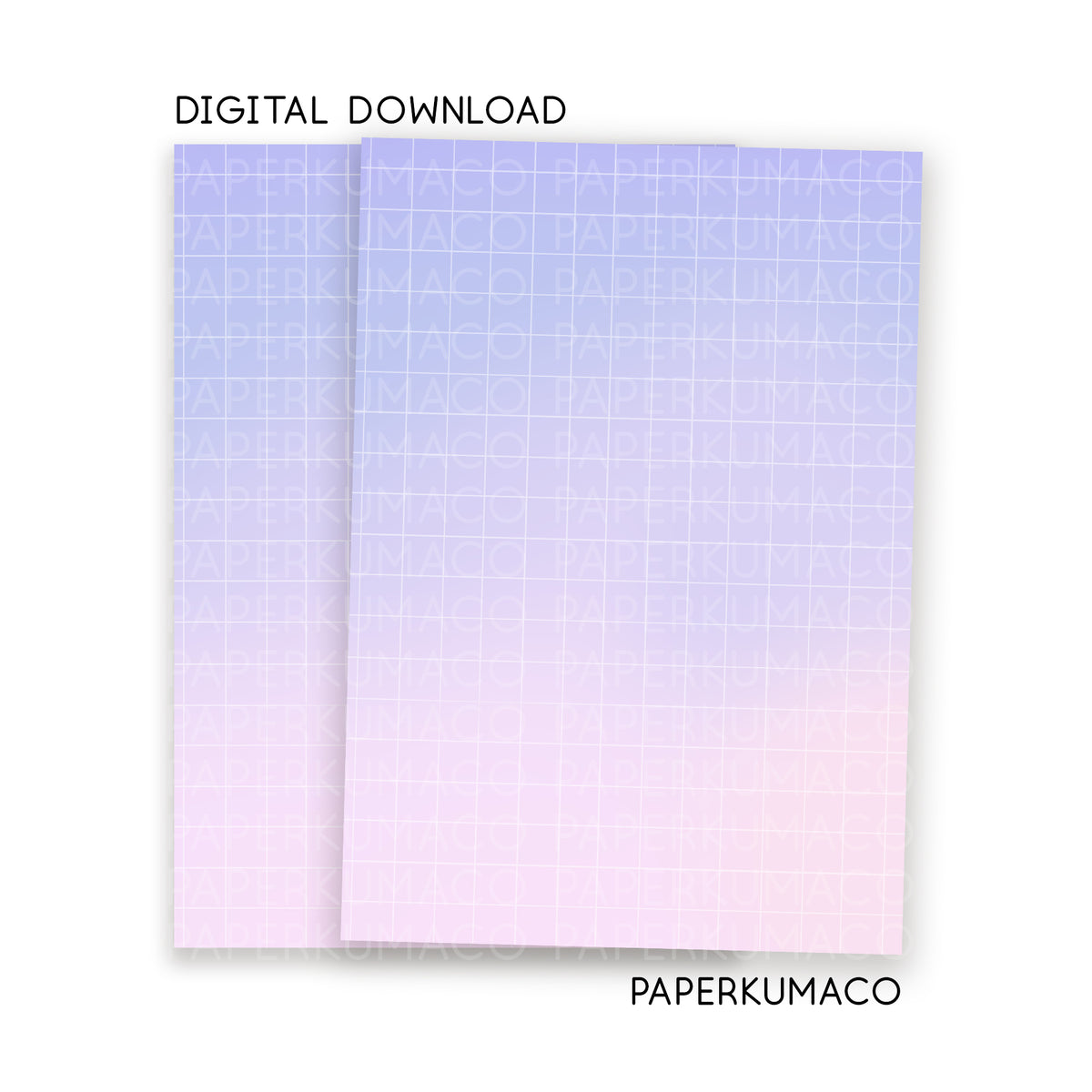 Purple Pink Gradient Grid A5 Paper - Digital Download