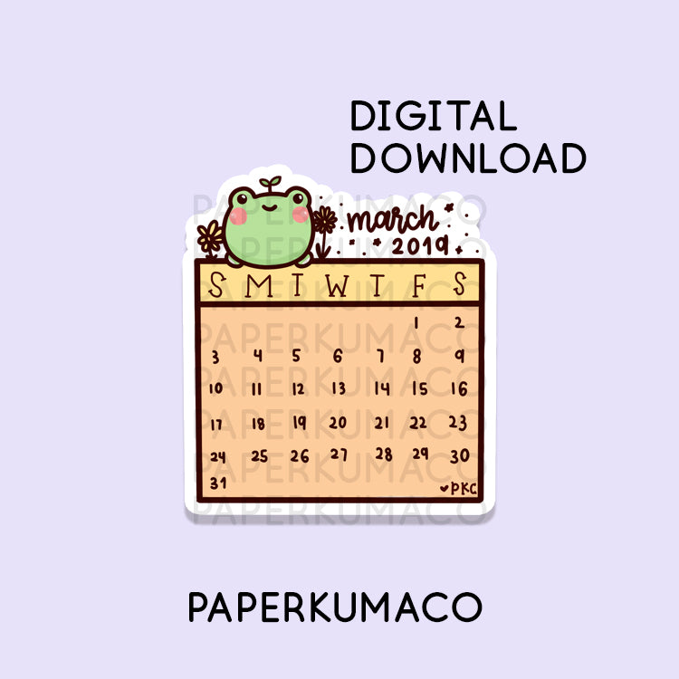 March 2019 Calendar - Digital Download