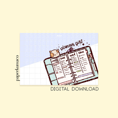 Momo Planner Girl Print - Digital Download