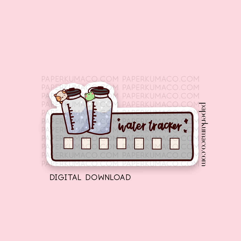 Lili and Momo Water Tracker Clipart - Digital Download