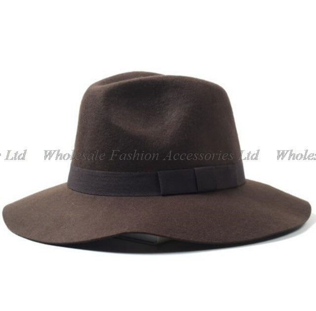 9159eed36ead9 6pcs/lot Classic Mens Formal Floppy Pure Wool Fedora Hats Women Winter  Woolen Fedoras Hat