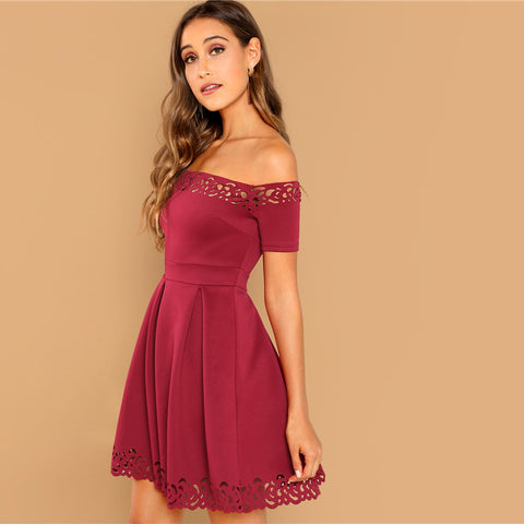 e30020b813 SHEIN Burgundy Elegant Off Shoulder Laser Cut Fit and Flare Mid Waist Mini  Dress Women Summer Short Sleeve A Line Party Dresses