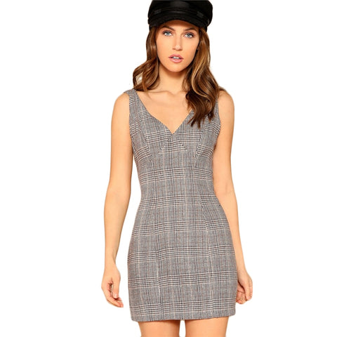 acd7839ad29 SHEIN Grey V-Neck Strap Back Zipper Side Plaid Sleeveless Bodycon Mini Dress  Women Summer Slim Fit Sheath Sexy Elegant Dresses