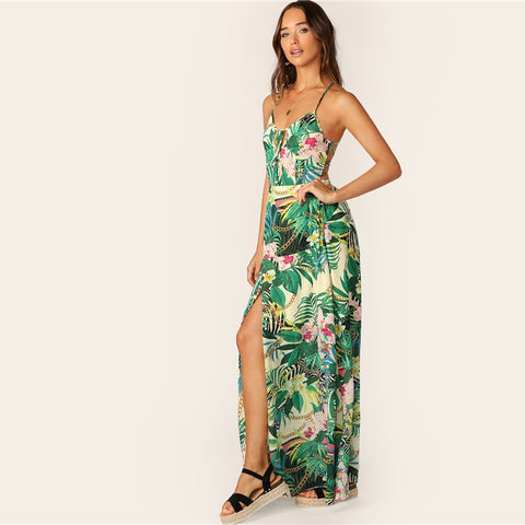 10f64f8bc2 SHEIN Boho Multicolor Lace Up Backless Knot Front Split Tropical Summer  Cami Dress Women Straps Fit and Flare Maxi Dresses