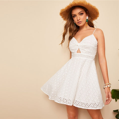 1b1a7247313ef SHEIN Boho White Knotted Back Peekaboo Schiffy Slip Summer Lace Party Dress  Women Fit and Flare Cutout Solid Cami Sexy Dresses