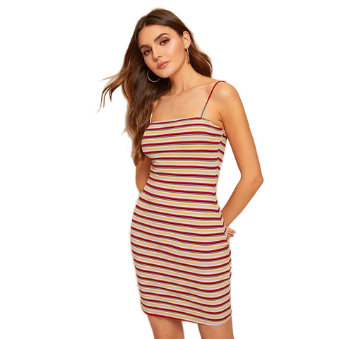 91afd8f7b111 SHEIN Colorful Striped Cami Bodycon Dress Women Casual Sleeveless Spaghetti  Strap Summer Dress 2019 Lady Slim Fit Mini Dress