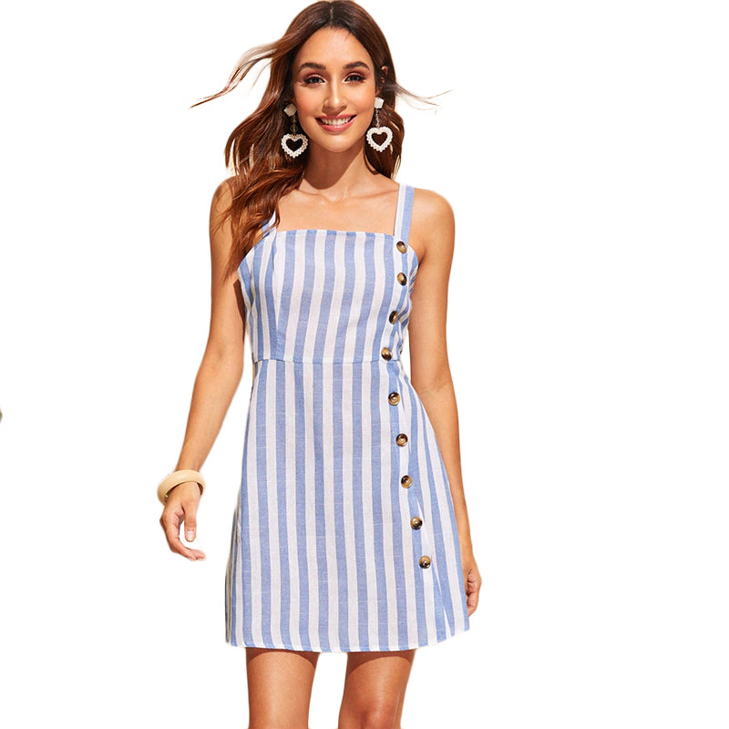 b2b722a0cf SHEIN Button Front Striped Dress Women Sleeveless Straps Fit and Flare Dress  2019 Swish Blue Summer