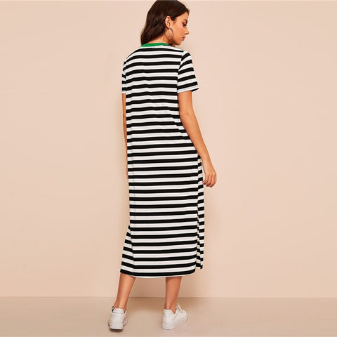 88a50b28fb4 SHEIN Split Side Striped Ringer Tunic Dress Women Casual Black and White Shift  Tunic Short Sleeve Slit 2019 Summer Dresses