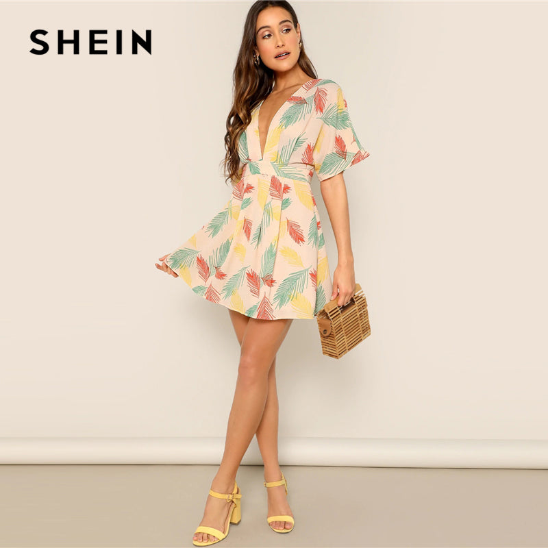 539bb26453f9 SHEIN Plunge Neck Tied Open Back Tropical Dress Deep V Neck Fit and Flare  Women Dresses