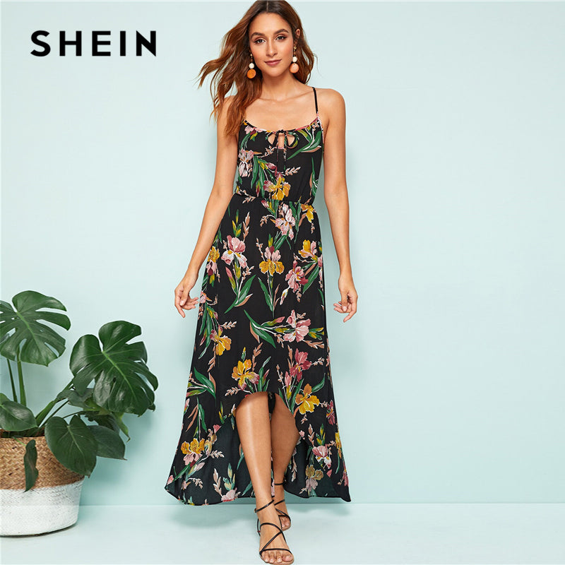 a932106dc3 SHEIN Black Crisscross Back Floral Print High Low Hem Slip Summer Long  Dress Women Spaghetti Strap