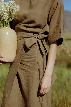 Olive variation of the kimono top