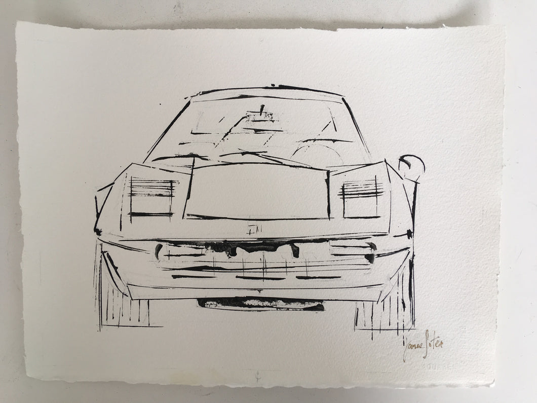 ATRIST JAMES SOTER FERRARI 308 GTB ACRYLIC ON ARCHES AQUARELLE PAPER 300GSM CAR ART GERHARD RICHTER DAVID SALLE GARY HUME art for auto enthusiast car art