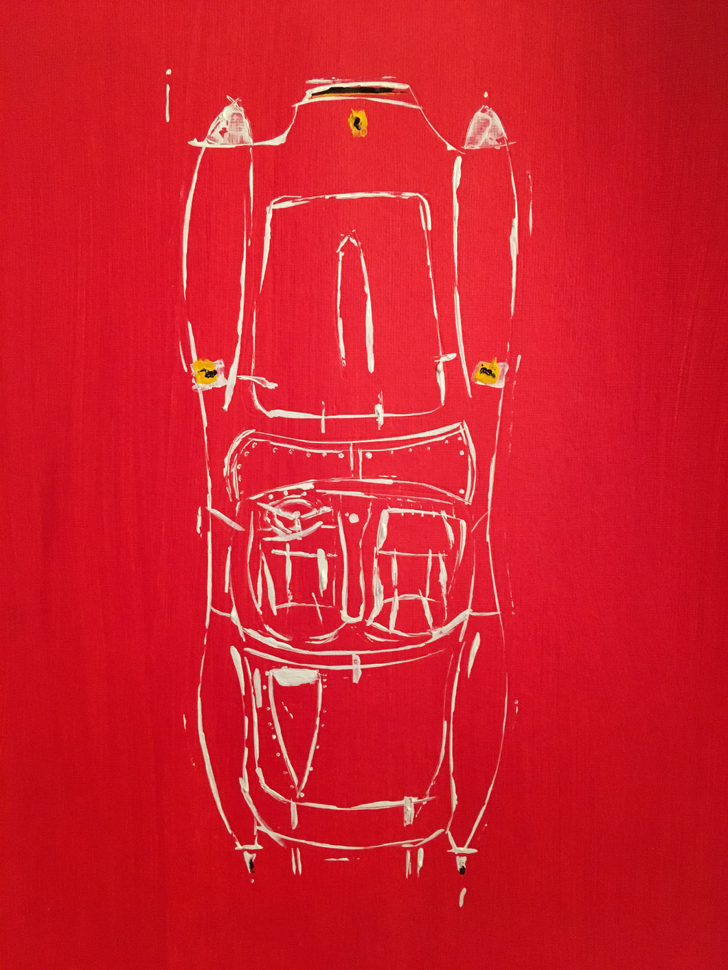 FERRARI 250 1957 TESTAROSSA ARTIST JAMES SOTER TOP VIEW
