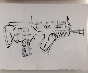 IWI TAVOR by JAMES SOTER TACTICAL COLLECTION FIRST EDITION ACRYLIC ON AQUARELLE ARCHES© 640g PAPER