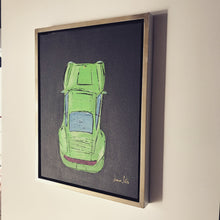 JAMES SOTER PORSCHE CARRERA 911 LIME ACRYLIC ON CANVAS BOARD FRAMED