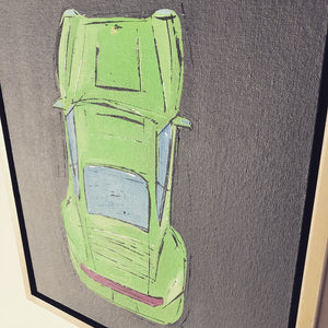 JAMES SOTER PORSCHE CARRERA 911 LIME ACRYLIC ON CANVAS BOARD FRAMED MUSEUM