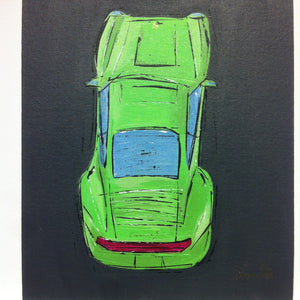 "PORSCHE LIME by JAMES SOTER ACRYLIC ON CANVAS BOARD 1 of 1 ORIGINAL 16"" x 20"" CARRERA S 911 MUSEUM"