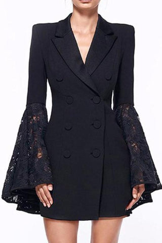 suit lace black blazer
