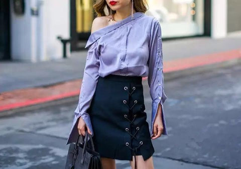 skirt with laceup and blue shirt