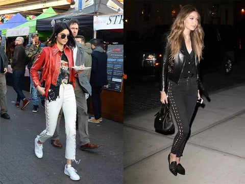 gigi hadid kendall jenner laceup tight trousers