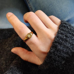 Flower Ring Chunky Stackable Gold Ring  CS-R012