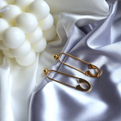 Safety Pin Earrings, Gold Plated Hypoallergenic Stainless Steel