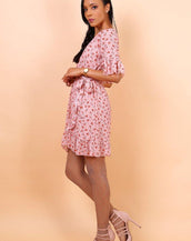 Wrap Front Mini Dress With Tie Waist In Pink Floral