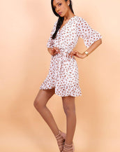 Wrap Front Mini Dress With Tie Waist In White Floral