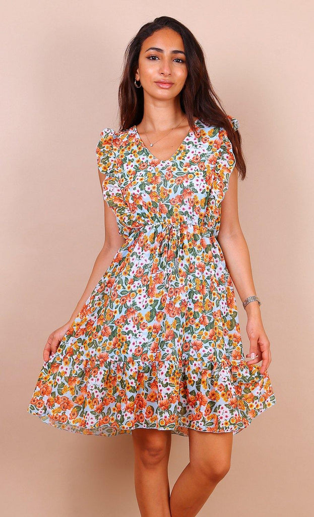 Green And Orange Floral Frill Mini Dress
