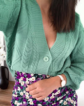 V Neck Button Front Cardigan In Green
