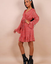 Frill Flare Sleeve Wrap Dress In Red Floral Print