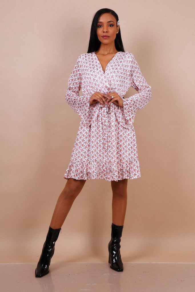 Frill Flare Sleeve Wrap Dress In White Floral Print