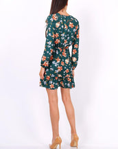 Green Floral Print Tie Neck Shift Dress
