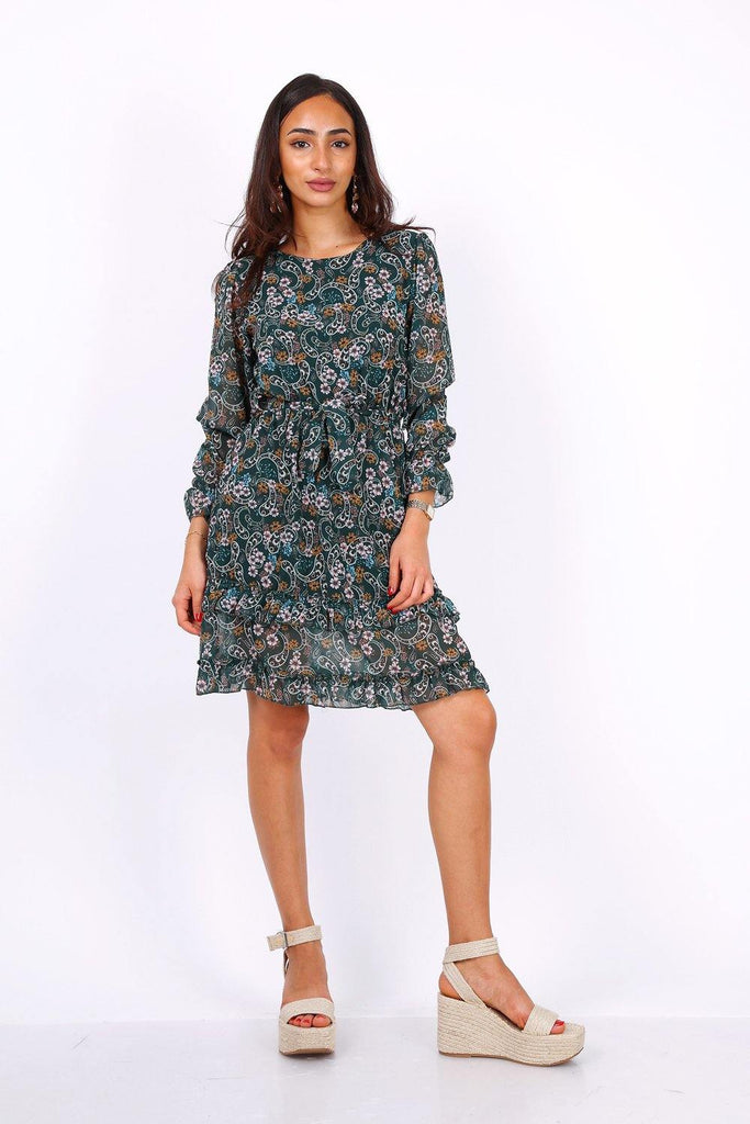 Green Long Sleeve Mini Dress In Chiffon Paisley Print