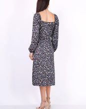 Leaf Print Ruched Neckline Midi Dress In Black