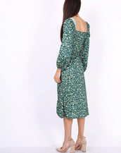 Leaf Print Ruched Neckline Midi Dress In Green