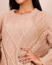 Oversized Cable Knit Jumper In Camel